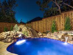 U0027Blue Falls Hideawayu0027 Custom Luxury Pool And Spa , Swimming Pool Design,  Landscape