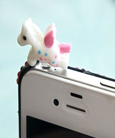 kawaii unicorn phone plug by Jillicious Charms and Accessories