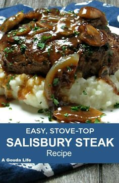 Best Salisbury Steak ~ beef patties in rich mushroom gravy ~ A Gouda Life BEST Homemade Salisbury Steak ~ simple dinner recipe. Seared ground beef patties slathered in a rich mushroom gravy. Serve over mashed potatoes for an easy, any night comfort meal. Lunch Recipes, Easy Dinner Recipes, Easy Meals, Cooking Recipes, Homemade Salisbury Steak, Salisbury Steak Recipes, Salsbury Steak Gravy, Salisbury Steak Recipe Pioneer Woman, Easy Steak Recipes