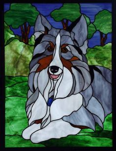 Blue Merle Sheltie Stained glass