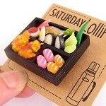 Sushi Bento Box Brooch. Miniature food jewellery. - by saturdaylollipop on madeit $28