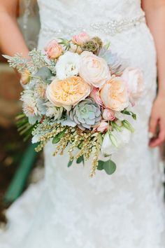 Flowers by Lace and Lilies - Succulent Bouquet - Peach Wedding - Juliet Garden Rose - Colorado Wedding