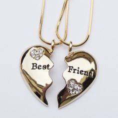 jewels bff coat gold necklace with the bestfriends kn it jewelry necklace bff bff necklace best friends necklace bff jewelry bag gold heart Bff Necklaces, Best Friend Necklaces, Best Friend Jewelry, Diamond Necklaces, Bestfriend Necklaces For 2, Bff Gifts, Best Friend Gifts, Gifts For Friends, Hirsch Tattoo