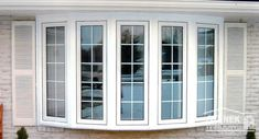 White, five-lite bow with overhand tie-in and casement windows with colonial grids. Learn more. Clerestory Windows, Casement Windows, Bay Windows, Cottage Exterior, Custom Windows, Window Styles, Coastal Cottage, Window Treatments, Home Improvement