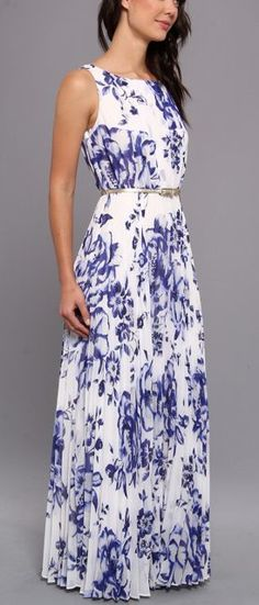 Blue floral sleeveless long maxi dress with belt