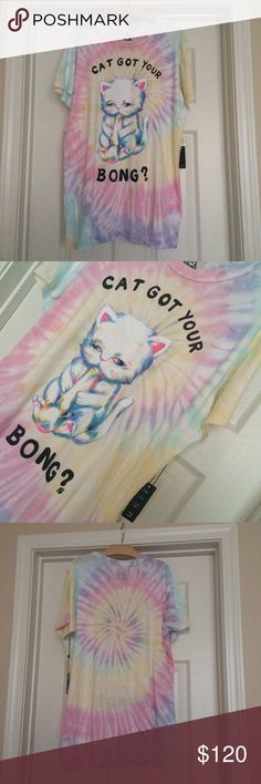 NWT UNIF Cat Got Your Bong Tye Dye Tee T Shirt Brand new with tags never worn. Made out of the softest t shirt material and has the prettiest tye dye pattern design. Love this shirt and paid a fortune but need to pay my bills  Size Medium. By UNIF UNIF Tops Tees - Short Sleeve
