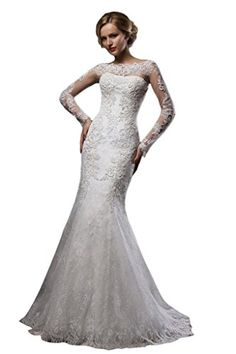 e2af7cd25d17 JoyVany Lace Mermaid Wedding Dress 2016 Long Sleeves Sweep Train Wedding  Gowns at Amazon Women's Clothing store: