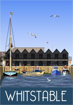 Whitstable Harbour. Railway Poster style Illustration by www.whiteonesugar... Drawn by Nigel Wallace of White One Sugar