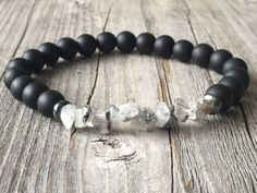 Gemstone men bracelet, stretch stacking bracelet, beaded bracelet, handmade men jewelery, men gift idea, black surf bracelet,nature bracelet door KennlyDesign op Etsy