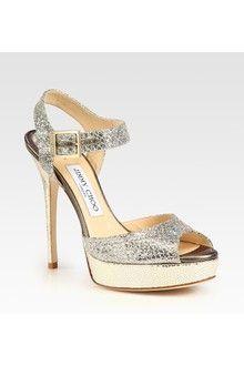 Jimmy Choo Linda Glitter Coated Leather Platform Sandals - Lyst