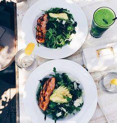 salmon + avocado salads