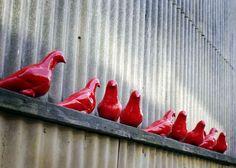 red ceramic pigeons