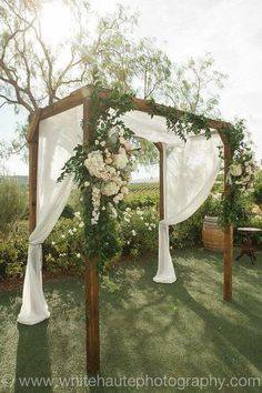 Falkner winery rustic wedding arch More
