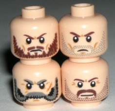 LEGO 4 Cowboy Western Light Flesh Minifigure Heads with Mustaches Beards Stubble