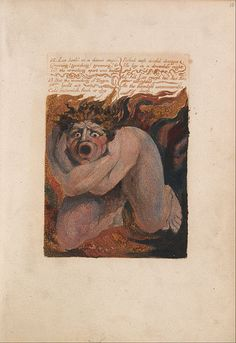 """1794.William Blake - The First Book of Urizen,Plate 10, """"12- Los Howld in a Dismal Stupor....""""(Bentley 7) -brown print and watercolor on cream-colored paper (Color-printed relief etching in orange-brown with watercolor on moderately thick,slightly textured, cream wove paper) 152 х105 mm. Yale Center for British Art."""