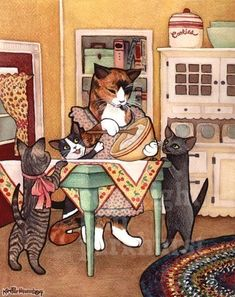 Kitchen Kitties Cat Retro Art Signed Print by toadbriar on Etsy, $22.00