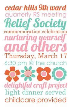 all things simple: spring quarterly Relief Society meeting