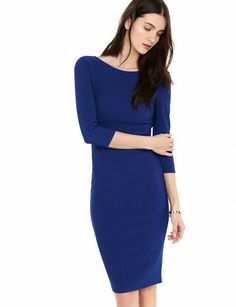 Express Zip Back Ribbed Sheath Dress