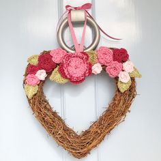 Vintage style handmade crochet rose heart hanging wreath - perfect for brightening up your home or a wedding