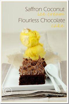 Flourless Choc Cake Saffron Coco IceCream (01) by MeetaK