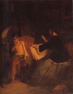 Eros and the painter Artist: Nikolaos Gyzis 1868 Style: Romanticism Greece Painting, Baroque Art, 10 Picture, Greek Art, Historical Art, Art Database, Chiaroscuro, Beautiful Paintings, Online Art