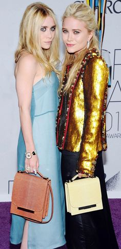 Double the fun! The Olsen Twins tote matching The Row handbags