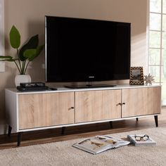 Mid-Century Modern White and Light Oak 6-Shelf TV Stand - Brennan | RC Willey Furniture Store