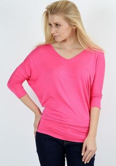 3a388087c4f76 Women s Pink Dolman Sleeve Tunic Top V-Neck Shirt