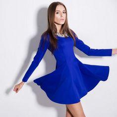 Autumn Winter Stripes Long Sleeve High Waist Dress Sapphire Blue Black Red