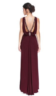 Vestido Longo Bordô - Badgley Mischka - Back