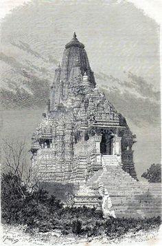 Antique print Kandariya Mahadeva temple Khajuraho Madhya Pradesh, India 1873