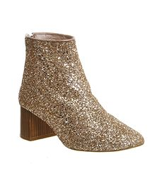 Office Jazz Hands Block Heel Boots Rose Gold Glitter - Ankle Boots