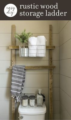 How to make this EASY rustic bathroom storage ladder with scrap wood in one afternoon!