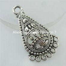Free shipping 18457 20PCS Tibetan Silver Alloy European Water-drop Teardrop Hollow Filigree Style Pendant For Earrings Making(China (Mainland))