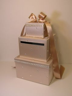 Wedding Card Box Champagne and White Gift Card Box Money Box Holder--Customize your color - Etsy - Money Box Wedding, Card Box Wedding, Diy Wedding, Wedding Gifts, Wedding Ideas, Sunset Wedding, Wedding Stage, Wedding White, Church Wedding