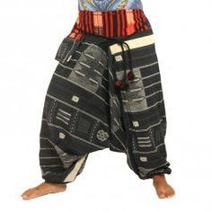 Pantalones de harén mezcla de algodón - negro
