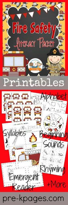 Printable Fire Safety Literacy Activities for Preschool and Kindergarten {Syllables, beginning sounds, Rhyming, Alphabet etc}