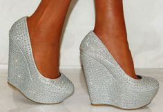 Silver shimmer bling high heel wedge shoes by BeautifulxBoutique, £45.00