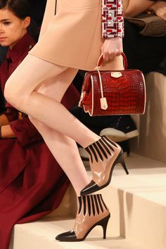 >> Louis Vuitton (Creative Director: Nicolas Ghesquière) Beige ankle boots with black toe caps and stripes, F/W Collection. >> More Louis Vuitton heels here. Vuitton Bag, Louis Vuitton Handbags, Lv Handbags, Handbags Online, Bootie Boots, Shoe Boots, Shoe Bag, Ankle Boots, Fashion Shoes