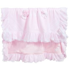 Girls Pink Cotton & Lace Baby Blanket (88cm), Aletta, Girl