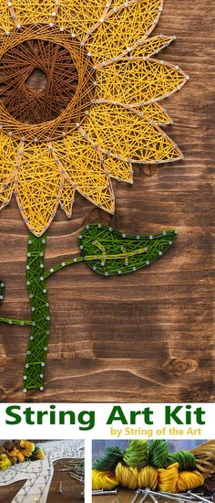 DIY String Art Crafts Kit - Sunflower Crafts Kit comes with the highest quality embroidery floss, HAND sanded and HAND stained wood board, metallic wire nails, pattern template, and easy instructions. Visit http://www.StringoftheArt.com to learn more about this Sunflower DIY String Art Kit! Sunflower String Art, Crafts Kit, DIY Kit, String Art Flower.