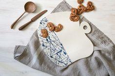 Handmade Modern Ceramic Cheese Board With Blue Splash by FreeFolding on Gourmly