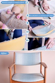 How to reupholster a mid century chair Mid Century Dining Chairs, Mid Century Chair, Mid Century Furniture, Chair Reupholstery, Ercol Chair, Chair Cushions, Chair Pads, Swivel Chair, Chair Makeover