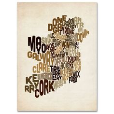 Ireland Text Map 2 by Michael Tompsett Textual Art on Wrapped Canvas