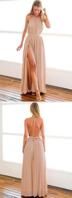 Long Prom Dresses With Slit, Open Backs Prom Dresses for Teens, Chiffon Evening Dresses Halter, A-line Graduation Dresses 2018