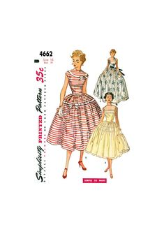 Evening Dress with Full Gathered Skirt in Two Lengths, Bust Waist Hip Simplicity 4662 Vintage Sewing Pattern Reproduction 50s Vintage, Gathered Skirt, Simplicity Patterns, Vintage Sewing Patterns, Pattern Making, Print Patterns, Evening Dresses, 1950s Fashion, Skirts