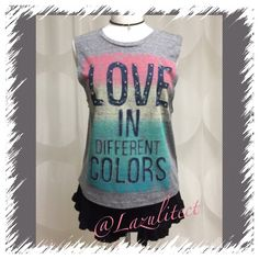NEW RETAIL..adorable LOVE top, sleeveless Adorable, NWT multi color, soft and cool material, deep arm holes great for layering under tank top!  Beautiful quality✨✨✨ April Spirit Tops Tank Tops