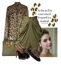 """Leopard & Green"" by katiethomas-2 ❤ liked on Polyvore featuring Balmain, Hermès, Christian Louboutin and STELLA McCARTNEY"