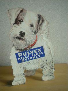 Vintage Terrier Dog Pulvex Flea Powder Stand Up Cardboard Store Display #Pulvex