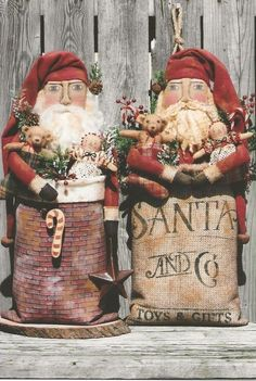"""Handmade Primitive Standing Santa With Toy Bag 12 1//2/"""" Tall"""